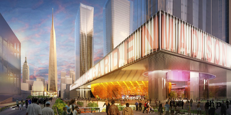 Fig. 2.13: SHoP's rendering of the proposed new Madison Square Garden on the current site of the Morgan Processing Facility, with plaza level connections to the High Line and Gateway Park (SHoP Architects, Gotham Gateway presentation, May 2013, p. 34)