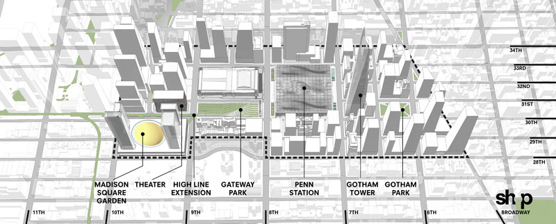 Fig. 2.14: Site plan of SHoP's Gotham Gateway proposal. Hudson Yards and the High Line extension are shown at far left. A new Madison Square Garden, Moynihan Station, Gateway Park, and the new Penn Station are in center. Gotham Tower and additional development are shown at right. (SHoP Architects, Gotham Gateway presentaiton, May 2013, p. 17)