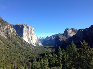 Fig. 3.06: Yosemite Valley. Completed in 1933 by the Civilian Conservation Corps, the Wawona Tunnel entrance to Yosemite Valley was carefully sited to provide a dramatic vista of the valley upon emerging from the eastern portal of the tunnel.