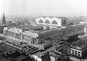 Fig. 3.12: Exterior of Penn Station, facing southwest from near the present-day site of Macy's