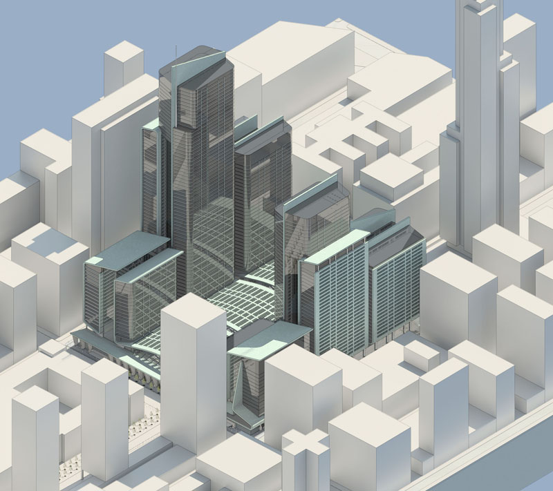 Fig. 4.08: Aerial axonometric facing north. The high-rise office towers above the station are divided into three segments each in order to break up their apparent mass, with higher portions oriented toward the east in order to relate to the Empire State Building, SHoP's proposed Gotham Tower, and other skyscrapers of Midtown Manhattan. Toward the west, the high-rise masses are lower and more horizontally-oriented, in order to relate to the Farley Post Office and other low-rise buildings adjacent to that end of the site.
