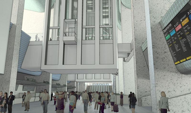Fig. 4.24: Mezzanine facing east toward Seventh Avenue exit