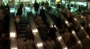 Fig. 4.25: Escalators at the original World Trade Center PATH Station, as depicted in the Godfrey Reggio film Koyaanisqatsi